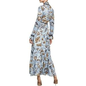 BCBGMAXAZRIA Floral Ruffled Maxi Dress Size 12